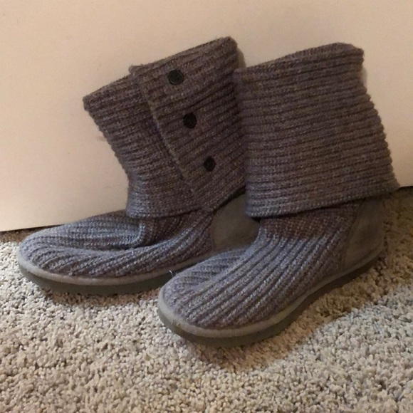 Gray Knitted UGG Boots